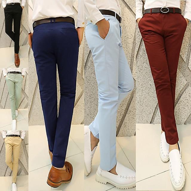 Горячие продажи мужские брюки моды случайные штаны мужчины новый дизайн высокого качества хлопок мужские брюки 6 цветов размер 28 ~ 36