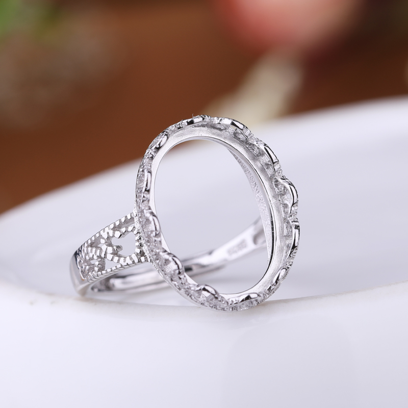 Real 925 Sterling Silver 12x16mm Oval Cabochon Semi Mount Ring Engagement Wedding Fine Jewelry Setting DIY Stone