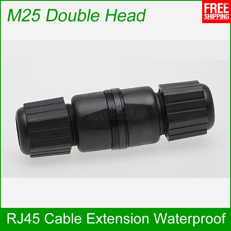 M25 double head CAT5E CAT6E Outdoor RJ45 Female to Female LAN Connector Ethernet Network Cable Extension Adapter waterproof bnc female to rj45 network testing cable black