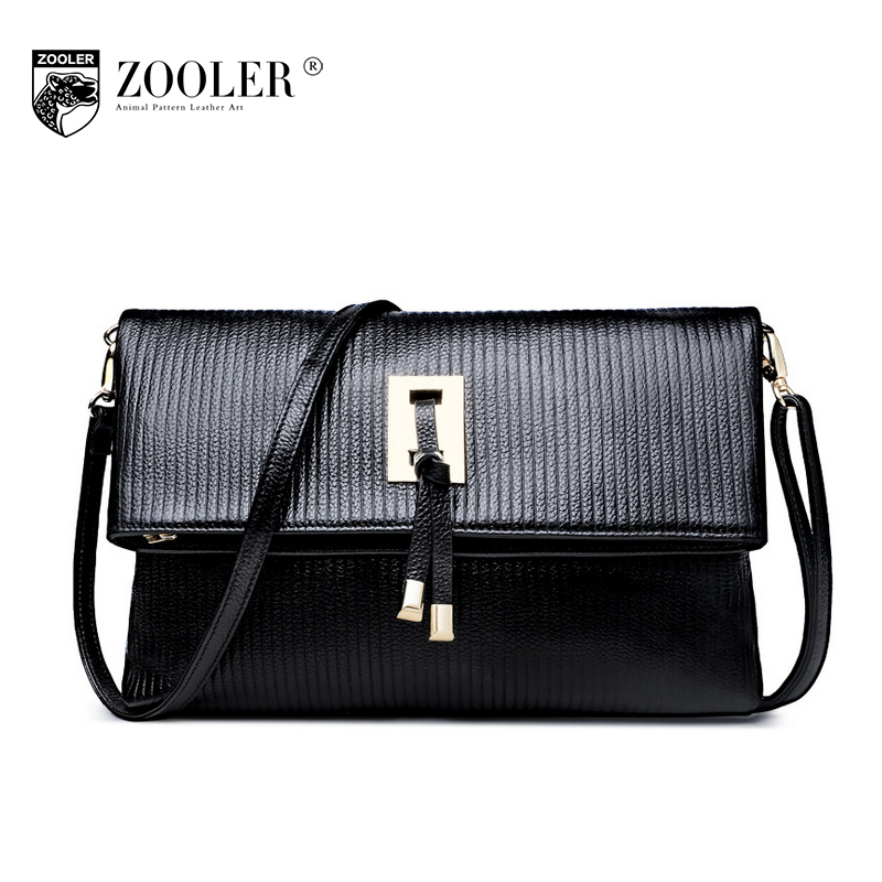 ZOOLER Women Genuine Leather Striped Bag Ladies All Match Leisure Shoulder Bags 2017 Girls Crocodile Pattern Small Messenger Bag zooler women genuine leather shoulder bags fashion leisure cowhide all match small messenger bag ladies casual bolsa feminina