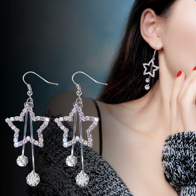 2019 New Arrivals Hottest Fashion Brincos Bijoux Crystal Rhinestone Hollow Pentagram Long Statement Drop Earrings Women Jewelry