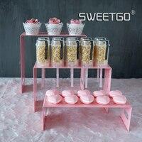 Empuje cake display stand de Metal de color rosa magdalena hierro accesorio 1 piezas mesa de banquete de boda decoración de la torta del partido proveedor