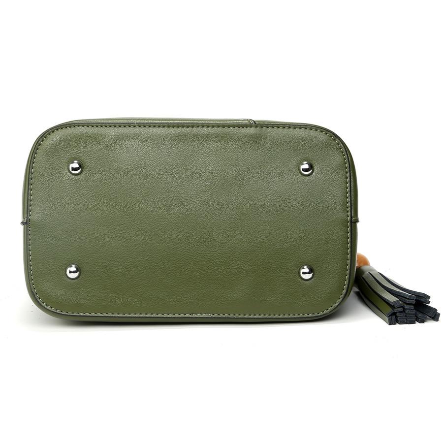 2018 ESUFEIR Brand 100% Genuine Leather Women Handbag Fashion Design Shoulder Bag Female Tassel Bucket Tote Bag Crossbody Bag