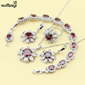 XUTAAYI 925 Silver Jewelry Sets For women Red Created Garnet Superb Necklace/Rings/Earrings/Bracelet Free Gift
