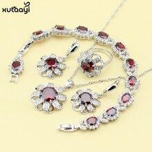 XUTAAYI Creado Granate Plata 925 Sistemas de La Joyería Para las mujeres Rojo Magnífico Collar/Anillos/Pendientes/Pulsera Regalo