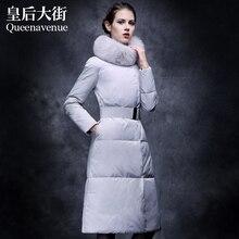 2014 Promotion New Freeshipping X-long Zipper Women Thicken Slim Large Fox Fur Collar Medium Down Jackets Luxurious Coat Ems