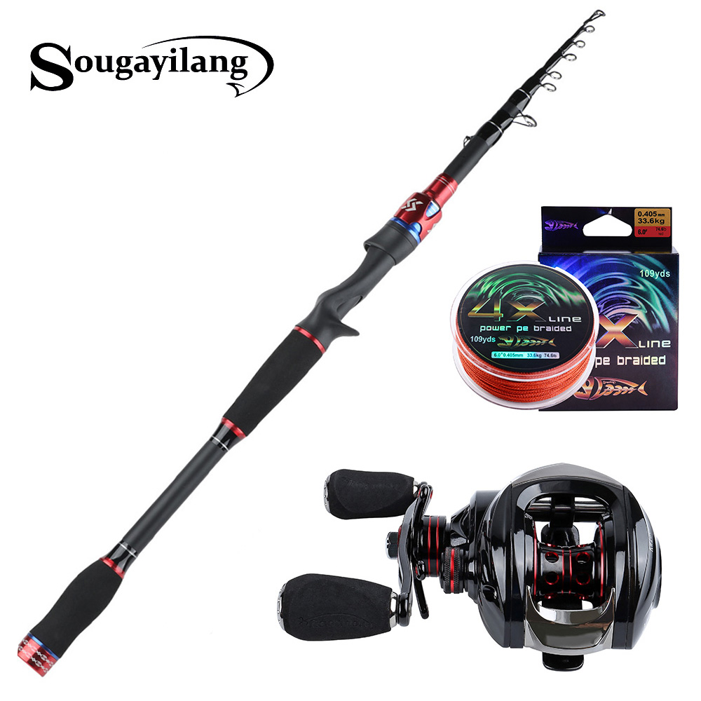 Sougayilang 1.8M 2.1M 2.4M Casting Lure Fishing Rods with 6.3:1 Baitcasting Reel Combo for Travel Freshwater Saltwater FishingSougayilang 1.8M 2.1M 2.4M Casting Lure Fishing Rods with 6.3:1 Baitcasting Reel Combo for Travel Freshwater Saltwater Fishing