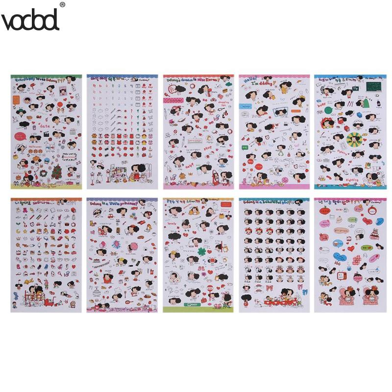 10 Sheets Kids Stickers Toy Creative Cute Small People Transparent Waterproof Sticker DIY Scrapbooking Diary Phone Desk Decor