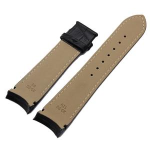 "Image 5 - קצה מעוגל רצועת השעון עור אמיתי 22 מ""מ 23 מ""מ 24 מ""מ עבור Tissot Couturier T035 להקת שעון רצועת אבזם פלדה שורש כף יד צמיד חום"