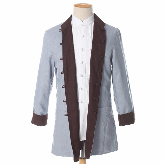 49c46b66f73 Brown Gray Reversible Men Kung Fu Jacket Chinese Male Cotton Linen Tai Chi  Coat Two Side Casual Tops M L XL XXL XXXL PM009