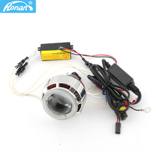 RONAN 2.0inch Motorcycle Bi Xenon HID Projector Lens with Double CCFL Angel Eyes wire for H4 H7 Headlight Retrofit Use Xenon H1