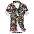 Men Flower Camisa Masculina Large Slim Fit Hawaiian Casual Button Aloha Shirts Cardigan White Red Dot Short Sleeve Chemise Homme
