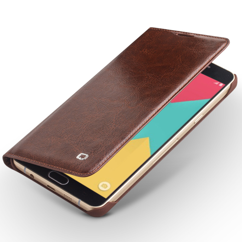 For 2016 new version Samsung Galaxy A5 case Qialino Real Leather Flip Wallet Ultra Thin Case