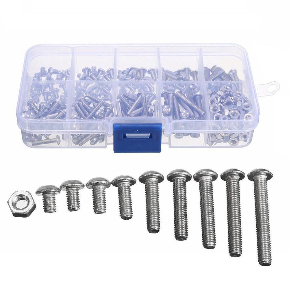 купить 340pcs M3 A2 Stainless Steel Hex Screw Nuts Bolt Cap Socket Assortment Kit по цене 384.87 рублей