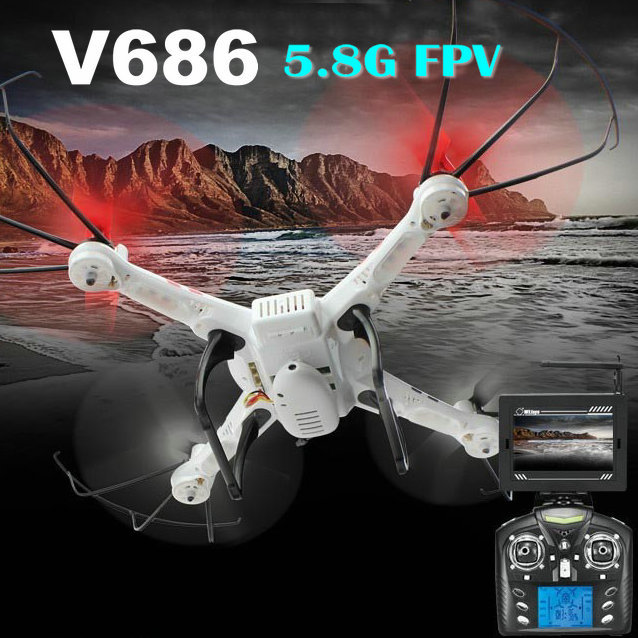 WL Toys Can See Live Video V686G 5.8G FPV 4CH 6 Axis Drone RC Helicopter Quadcopter with HD Camera RTF VS JJRC H9D H8C V666 CX20 радиоуправляемые вертолеты wl toys q222k wifi fpv rtf