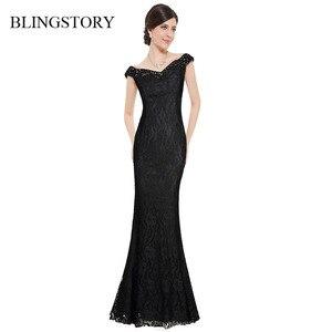 Женские вечерние платья в европейском стиле BLINGSTORY, черные кружевные летние платья-пол без рукавов с бриллиантами, KLD706