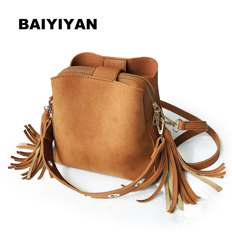 New Fashion Scrub Women Bucket Bag Vintage Tassel Messenger Bag High Quality Retro Shoulder Bag Simple Crossbody Bag Tote