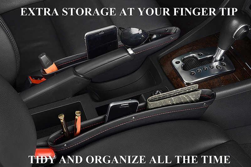 Huier 1 pc 革車スタイリングギャップポケットホルダーオーガナイザー車の座席にとコンソール店すべてドロップオートマットカーシートシーム収納ホルダー