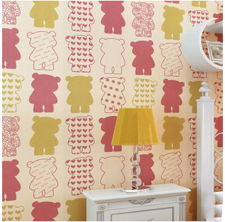 New Ecofriendly Cartoon Cute Bear Print Wallpaper Kids Bedroom Decor
