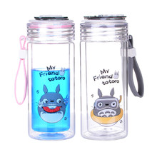 Cartoon Totoro Double-layer Glass Cup Cover Borosilicate Patch Cup Tea Cup Daliy Anti-scalding Water Cup Portable Student Gifts(China)