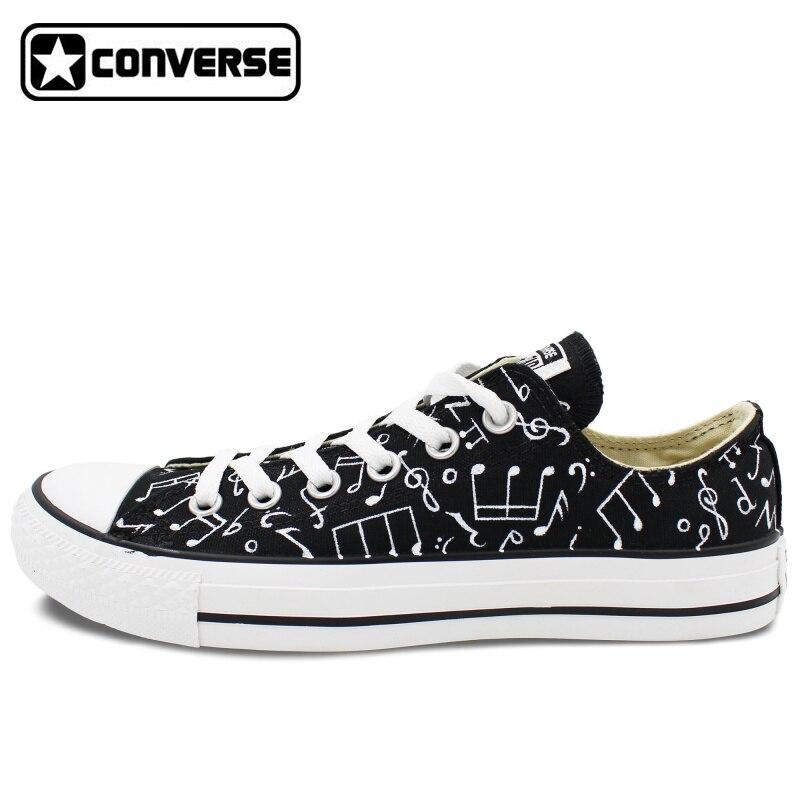 Prix pour D'origine Converse All Star Chaussures Peint À La Main Musique Notes Personnalisé Design Noir Low Top Toile Sneakers pour Cadeaux