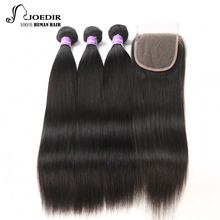 Peruvian Hair Bundles Straight Hair 3 Bundles Med Closure Joedir Human Hair Bundles With Closure Non Remy
