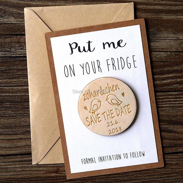 Personalisierte holz retten das datum magneten rustikalen for Hochzeitseinladung holz