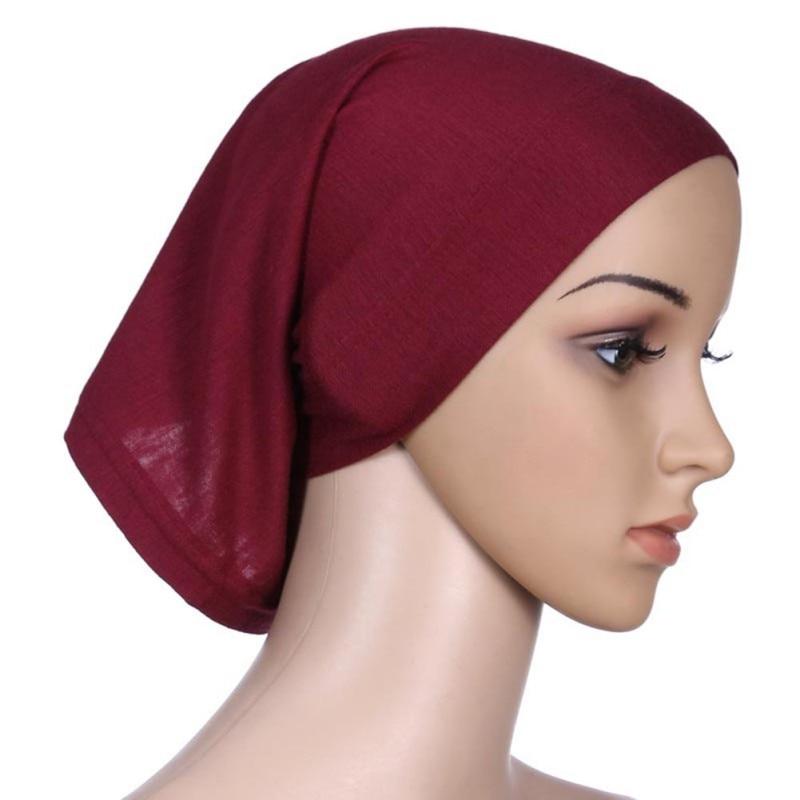 Mode Colorful Di Bawah Scarf Elastis Bonnet Topi Tulang Penutup Sorban  Wanita Instan Jilbab Islamic Penuh 3946bee4fa