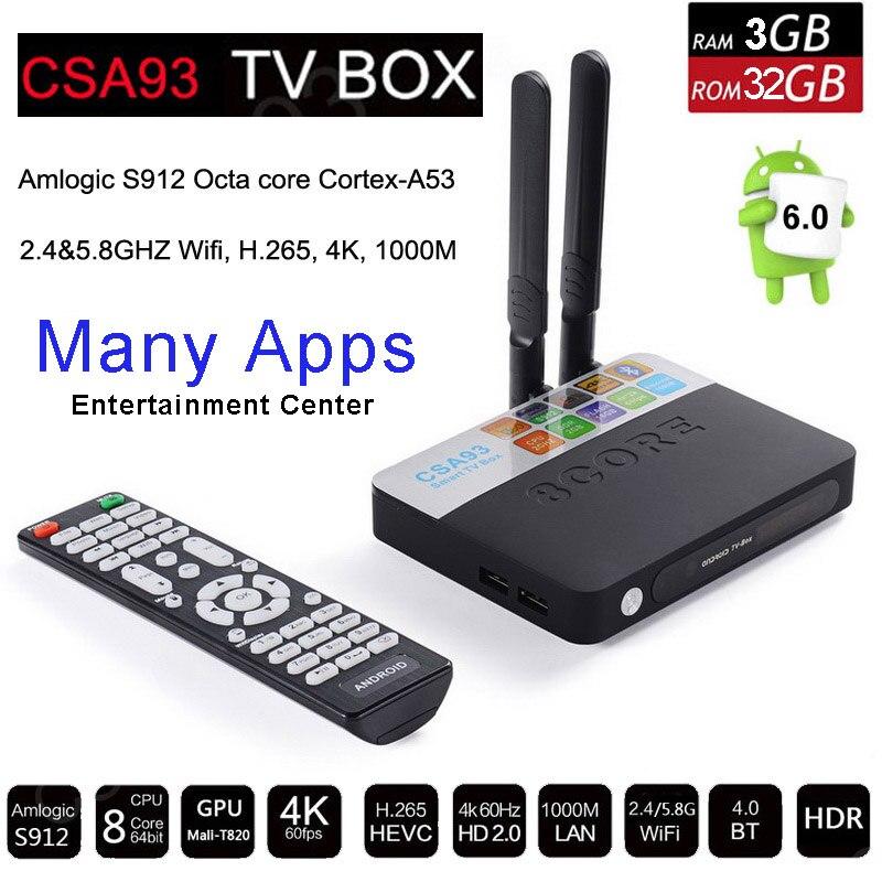 Prix pour 3 GB RAM 32 GB ROM Android 6.0 TV Box 2 GB 16 GB Amlogic S912 Octa Core CSA93 Streaming Smart Media Player Wifi BT4.0 4 K TVbox VS Mi