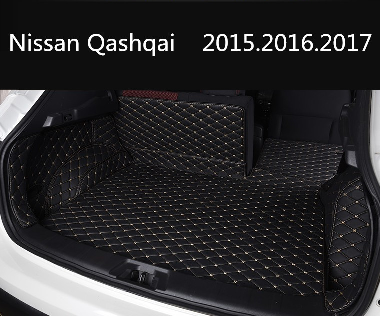 Auto Cargo Liner Car Trunk Mats For Nissan Qashqai 2015.2016.2017 Surrounded by all Carpets High Quality Embroidery Leather Mats car rear trunk security shield shade cargo cover for nissan qashqai 2008 2009 2010 2011 2012 2013 black beige