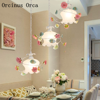 Korean idyllic LED flower and grass chandelier living room corridor dining room European romantic pink rose Chandelier