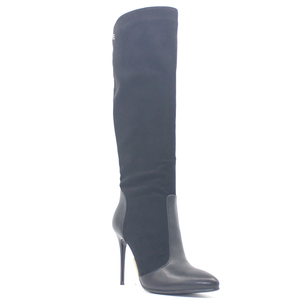 Pointed Toe Fetish Super High Heel Women Boots Sexy Thin Heel Winter Black Suede Over the Knee Shoe Metal Decoration Fleeces PU цены онлайн