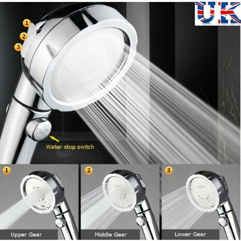 Chrome High Turbo Pressure 50% Water Saving Ionic 3 Filters Shower Head
