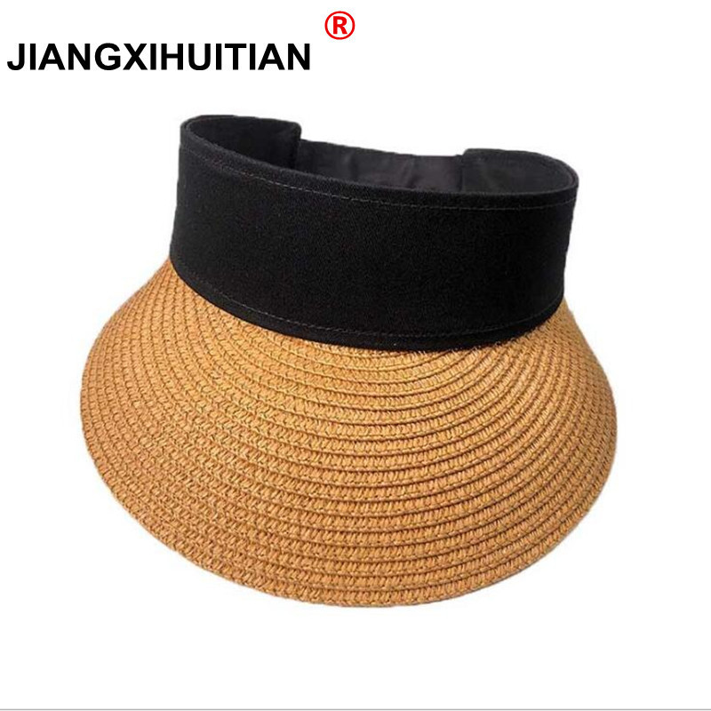 2018 Spring Summer New Big Wide Brim Straw Sun Visors hat Women/Gilr Fashion Beach Empty Top Caps 4 Solid Colors(China)