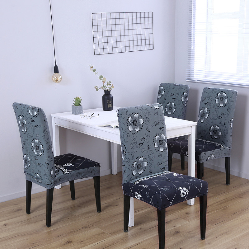 Elastic Chair Cover Floral Printing 4pcs Home Decor Dining