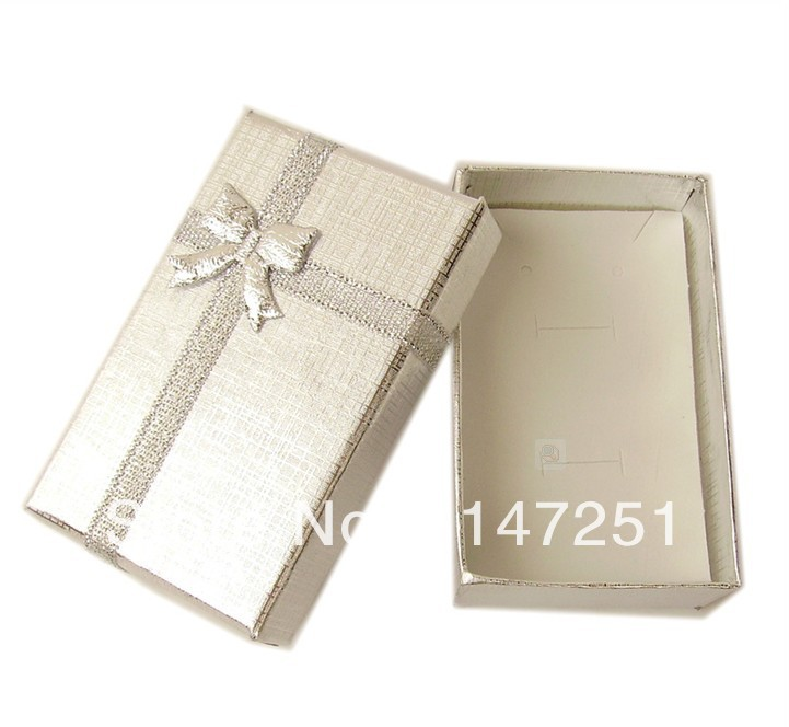 24pcs/lot Silver Jewelry Sets Display Box Earrings Necklace Display Packaging Boxes 5*8*2.5cm Necklace Gift Box Free Shipping