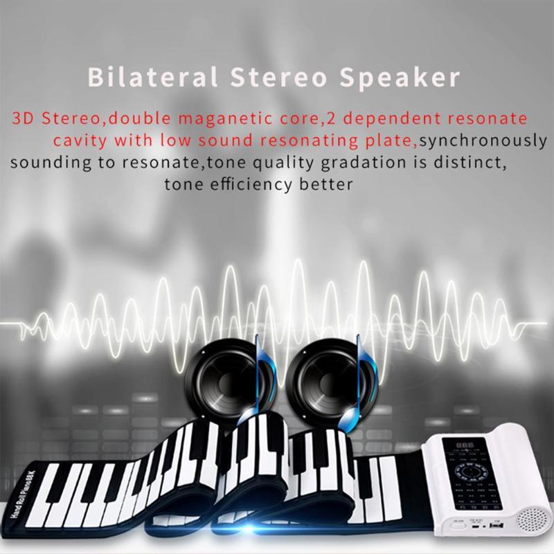 Портативный силиконовые Roll Up электронная фортепиано 61 Ключи <font><b>Bluetooth</b></font> середине гибкое пианино с Динамик Встроенный микрофон клавиатуры