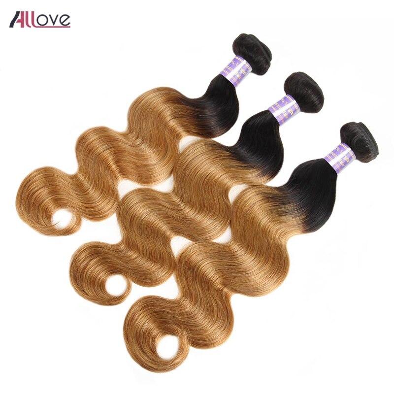 Allove brésilien Ombre cheveux paquets cheveux humains vague de corps 1b 27 Ombre 2 tons couleur Remy cheveux 1/3/4 faisceaux cheveux brun clair armure