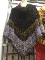 2018 натуральный Женский вязаный норковый мех пончо и накидки Большой размер пуловер для женщин модная теплая зимняя Роскошная меховая верхн
