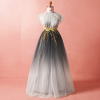 Plus Size Gradient Gray Off The Shoulder Gold Lace Vestidos De Festa Sleeveless Formal Long Evening Dresses Prom Party Gowns