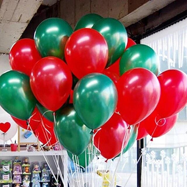 Globos De Navidad Verde Y Rojo 100 Unids Lote Latex Globo Decoracion