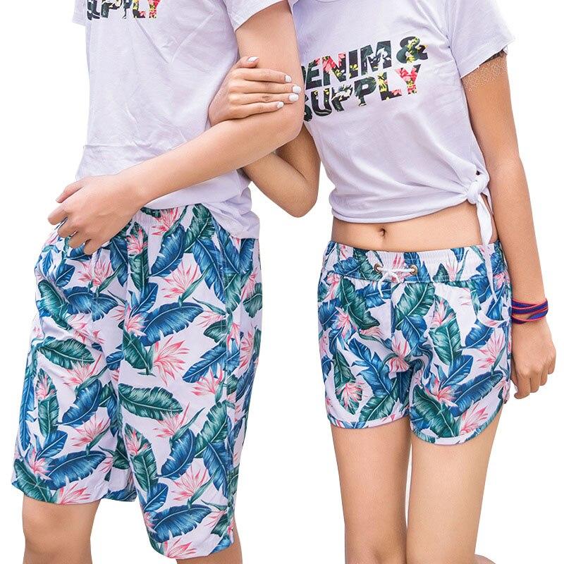 H.S.F.Q secagem Rápida Calções de Praia Homens Mulheres Casais Calcinhas  Flor Tropical Impressão Amantes Calças Venda Quente de Verão Curto em Surf  e praia ... b7e23ed731ed1