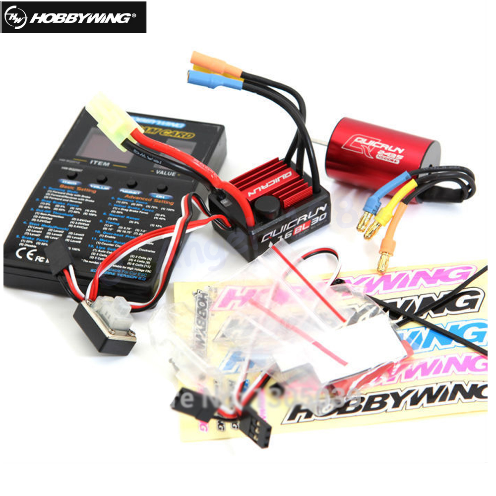 Original Hobbywing QuicRun-WP-16BL30 Sensorless Brushless 30A ESC + motor kv4500 + PROGRAM CARD for 1/16 1/18 car hobbywing quicrun wp 16bl30 hobbywing quicrun 30110000 brushless waterproof 30a sensorless esc wp 16bl30 for 1 16