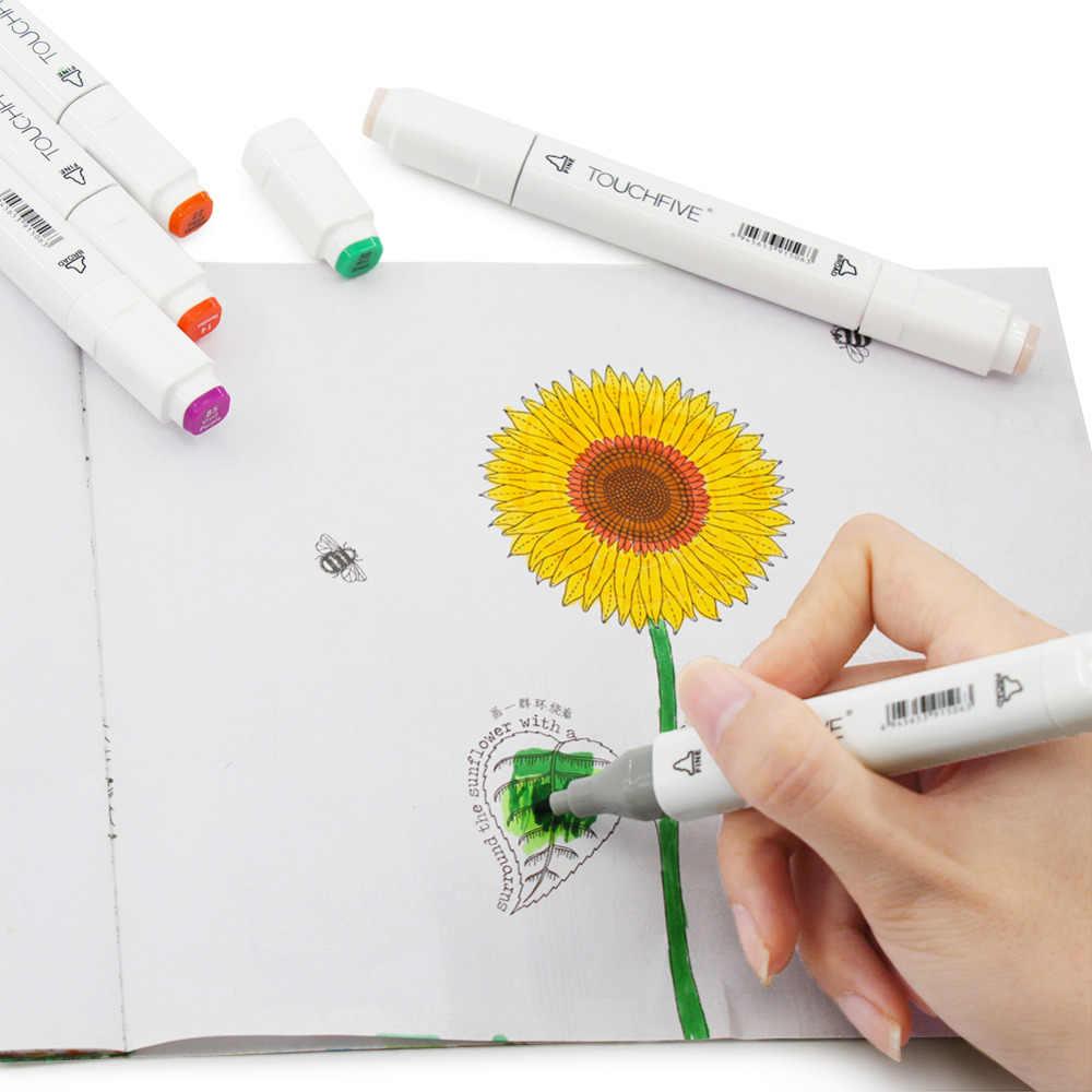 TouchFive İşaretleyiciler 12/80/168 renk kroki resim kalemi kalem çift ipuçları alkollü kalemler sanatçı Manga İşaretleyiciler sanat malzemeleri okul