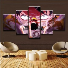 Decor Children Room Wall Art 5 Panel One Piece Luffy Draw a picture of roar DecorFramework HD Animation Poster Canvas Painting
