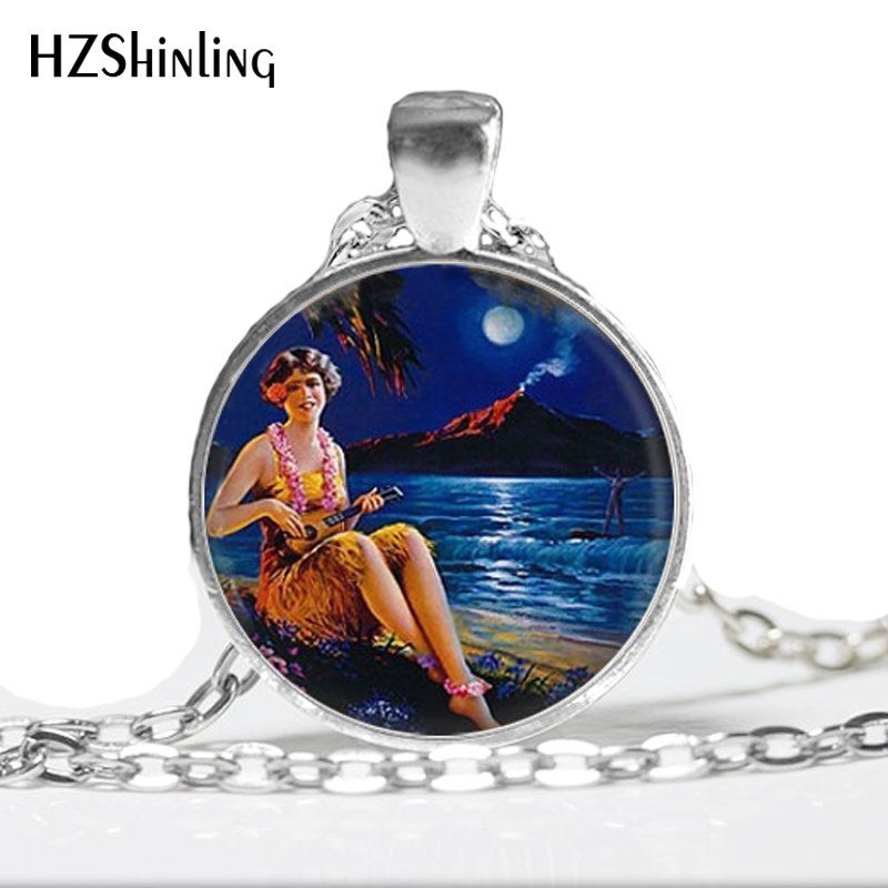 HZ--A488 New Girl with Ukelele Necklace Hawaiian Hula Girl Pendant Glass Jewelry Personalized Picture Necklace HZ1