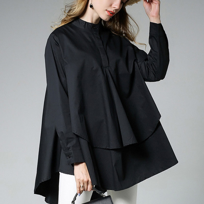 Womens asymmetrical hem blouse women blouses asymmetrical long sleeve ruffle shirt women black white 2 colors blouses tops