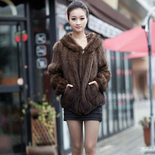 Women Fur Outerwear Coats Big Plus Size 5XL Coat 2016 Autumn Ladies' Genuine Real Knitted Mink Fur Coat Jacket with Hoody Winter