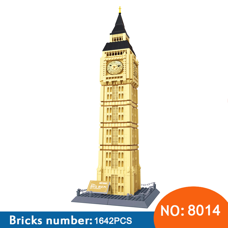 купить Wange 8014 1642pcs London Big Ben World Construction Building Blocks Creative Architecture Gift Toys Kids For Children по цене 2500.27 рублей