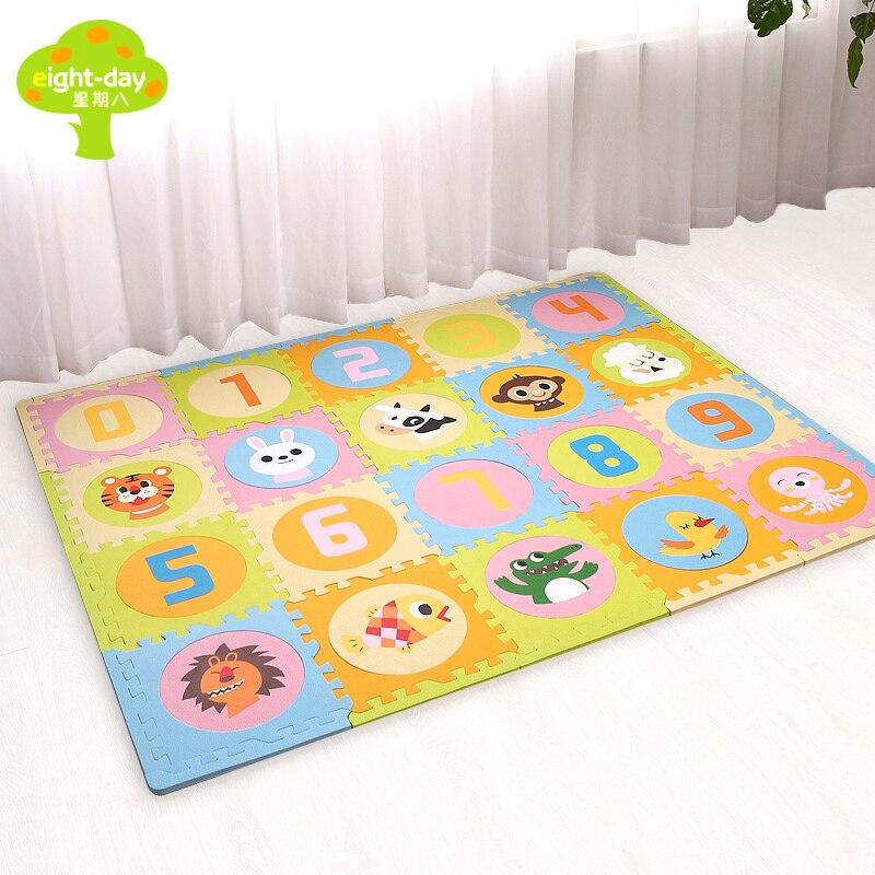 Брендовые детские коврики 20 штук Мягкие пазлы коврики для Для детей Ковры для игр пены eva ковры 1.4 см Толщина ребенка ползать Ковры